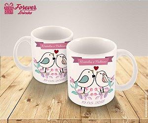 Caneca Porcelana Personalizada Casamento Passarinho