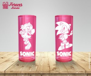 Copo Long Drink Amy Rose e Sonic
