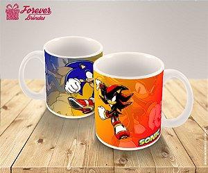 Caneca De Porcelana Desenho Do Sonic