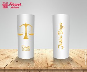 Copo Long Drink Direito Branco e Dourado