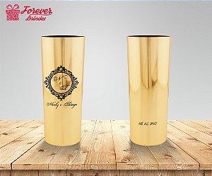 Copo Long Drink Metalizado Casamento Arabesco