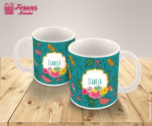 Caneca Porcelana Estampada Flamingo