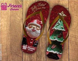 Chinelo De Natal Papai Noel e Árvore