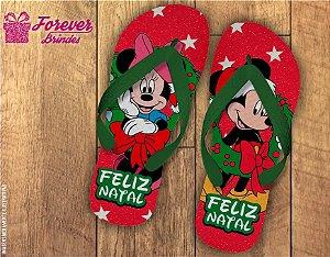 Chinelo De Natal Minnie e Mickey Estrelas