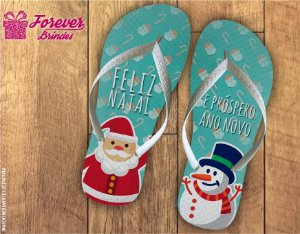Chinelo De Natal Papai Noel e Boneco De Neve