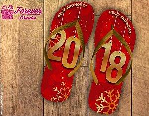 Chinelo De Ano Novo Letras Douradas