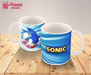 Caneca De Porcelana Sonic Com Listras