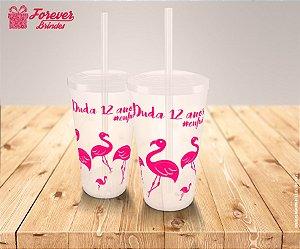 Copo Twister Aniversário Flamingos