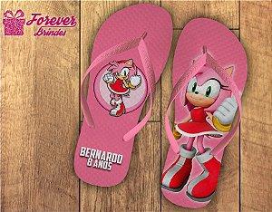 Chinelo Aniversário Infantil Sonic Amy Rose