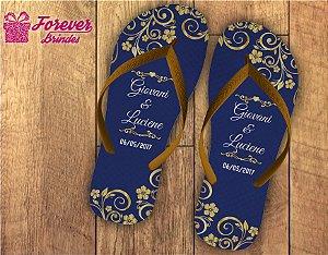chinelo casamento arabesca dourado com azul