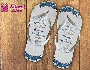 Chinelo casamento flor azul