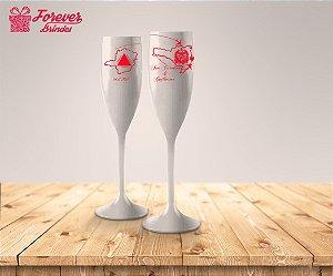 Taça De Champanhe De Casamento Estado Dos Noivos