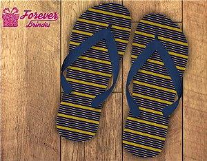 chinelo debutante listras azul com amarelo