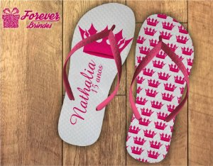 Chinelo debutante coroa de princesa rosa pink
