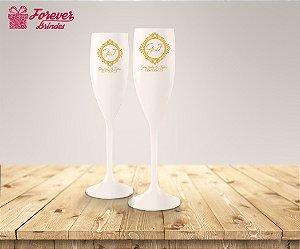 Taça De Champanhe De Casamento Iniciais Dos Noivos
