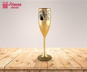 Taça Metalizada De Champanhe Casamento Com Frase