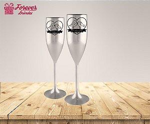 Taça Metalizada De Champanhe Casamento Casal Pombinhos