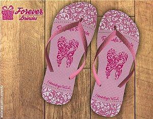 Chinelo formatura odontologia arabesco rosa