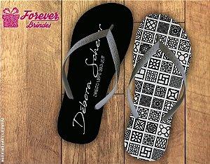 chinelo Formatura direito arabesco branco e preto