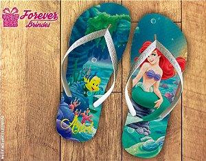Chinelo Aniversário Princesa Pequena Sereia Ariel