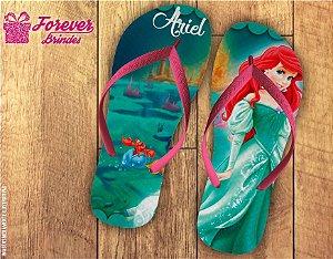 Chinelo Personalizado Aniversário Princesa Ariel