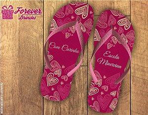 Chinelo Dia Dos Professores rosa com coração