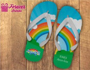 Chinelo Personalizado de arco-iris para escola