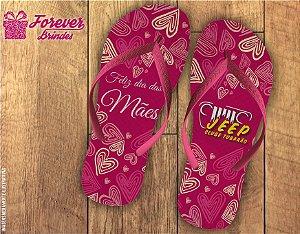 Chinelo Dia Das Mães na cor rosa com corações