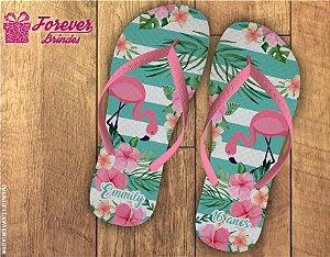 Chinelo De Aniversário Flamingo Com Floral