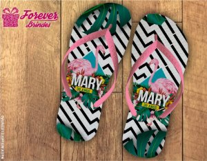 Chinelo Personalizado Flamingo Tropical