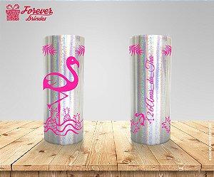 Copo Long Drink Holográfico De Aniversário Com Flamingo
