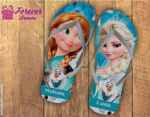 Chinelo Personalizado Aniversário Frozen