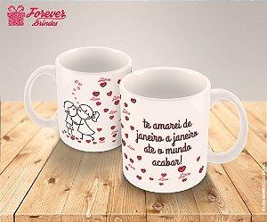 Caneca De Porcelana Casamento Corações