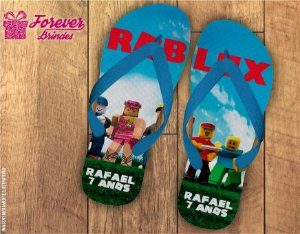 Chinelo Aniversário Personalizado Roblox