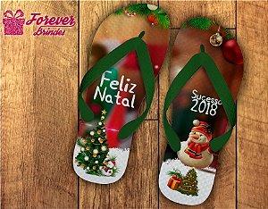 Chinelo Personalizado De Natal Boneco De Neve