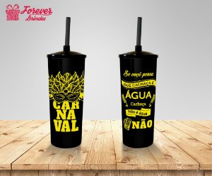 Copo Long Drink Carnaval Preto e Amarelo