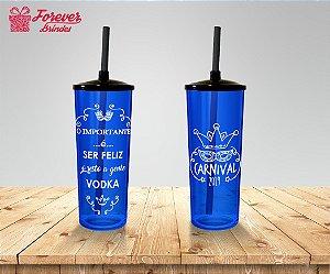 Copo Long Drink Carnaval Azul e Branco