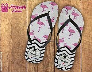 Chinelo Dia das Mulheres Listras Flamingo