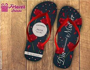 Chinelo Personalizado Dia da Mulher Rosas