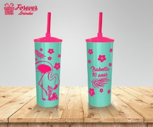 Copo Long Drink  Tampa e Canudo Flamingo