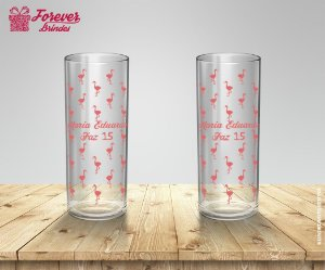 Copo Long Drink Personalizado de Flamingo