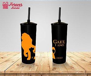 Copo Long Drink Tampa e Canudo Rei Leão
