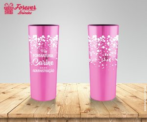 Copo Long Drink de Administração Metalizado Rosa