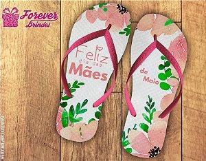 Chinelo Para O Dia Das Mães Com Flores Rosas