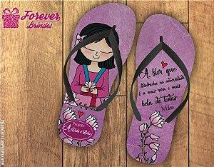 Chinelo Personalizado Roxo Dia Das Mães