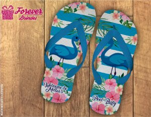 Chinelo Personalizado Flamingo Azul