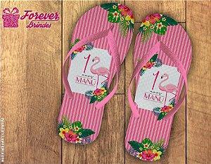 Chinelo Personalizado De Aniversário Flamingo