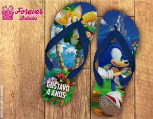 Chinelo Personalizado Aniversário Sonic