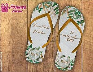 Chinelo Personalizado De Casamento Com Folhas