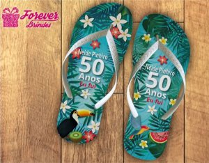 Chinelo Personalizado De Festa Luau Aniversário